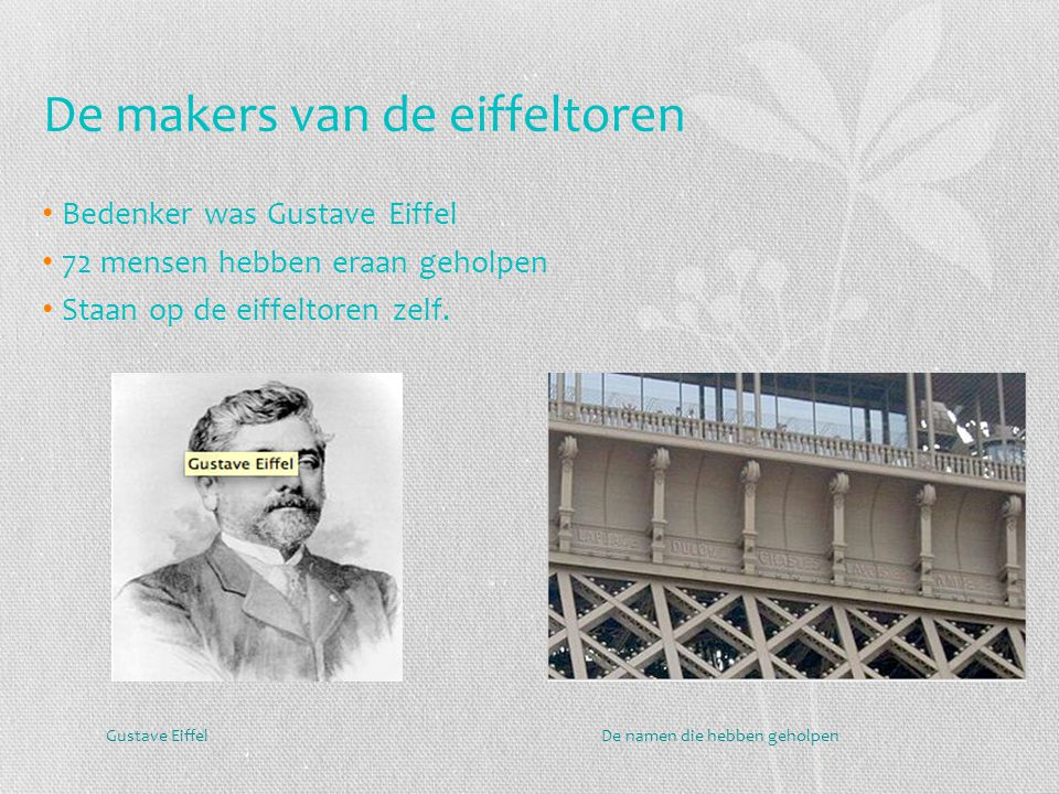 De makers van de eiffeltoren