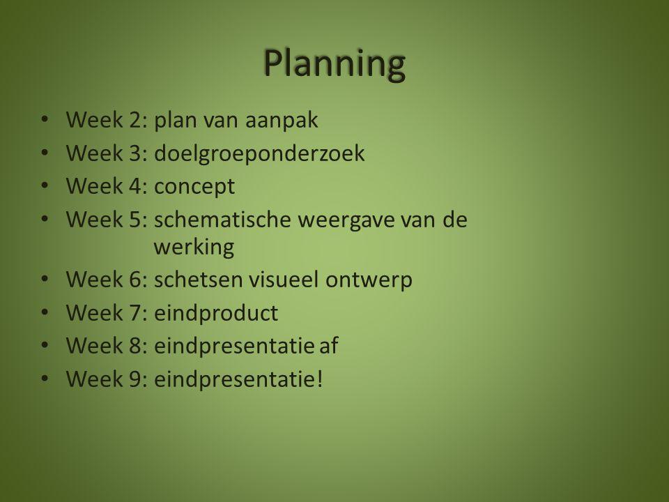 Planning Week 2: plan van aanpak Week 3: doelgroeponderzoek
