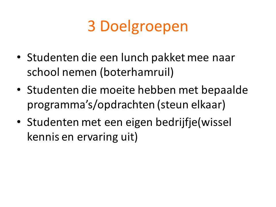 3 Doelgroepen Studenten die een lunch pakket mee naar school nemen (boterhamruil)