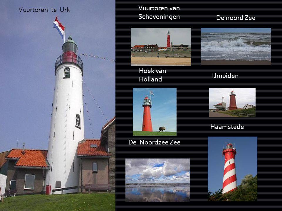 Vuurtoren van Scheveningen. Vuurtoren te Urk. De noord Zee. Hoek van Holland. IJmuiden. Haamstede.