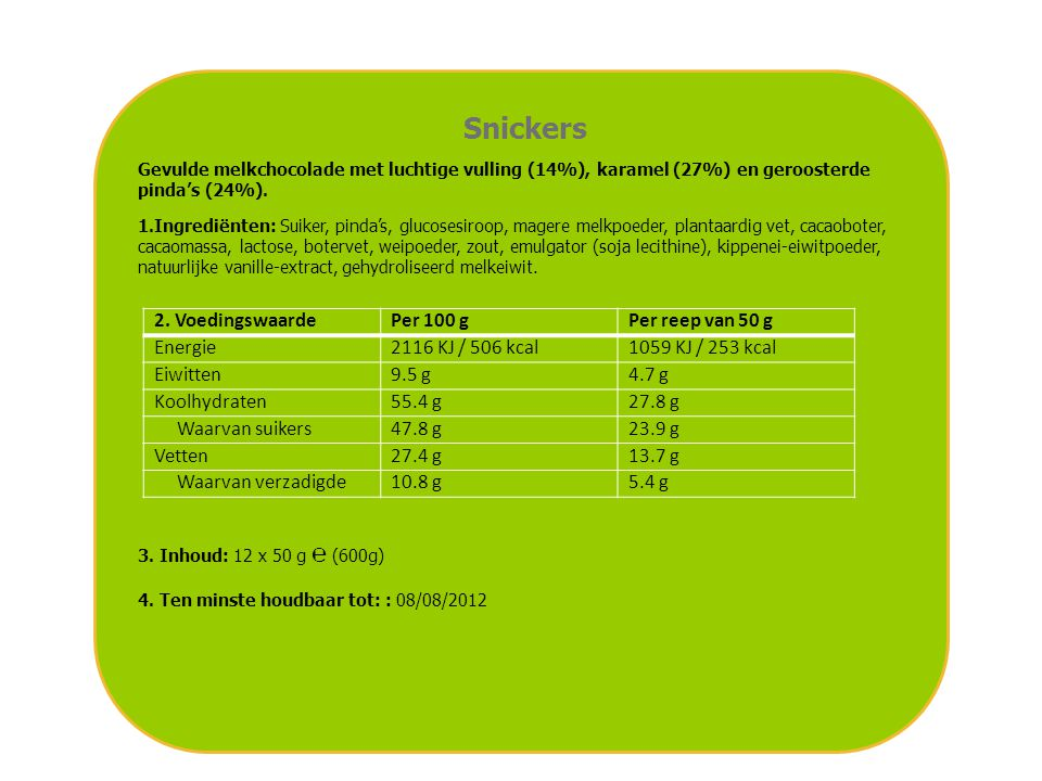 Snickers 2. Voedingswaarde Per 100 g Per reep van 50 g Energie