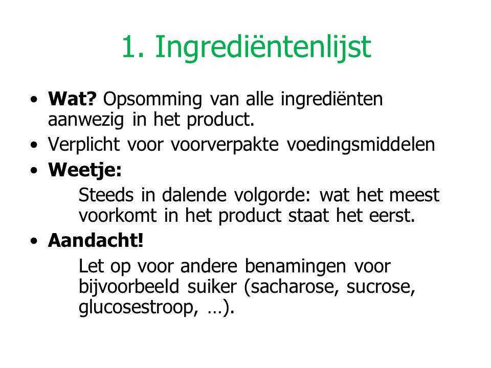 1. Ingrediëntenlijst Wat Opsomming van alle ingrediënten aanwezig in het product. Verplicht voor voorverpakte voedingsmiddelen.