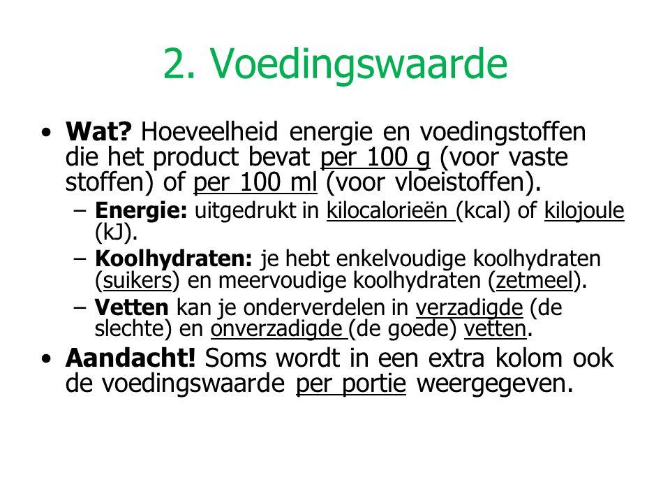2. Voedingswaarde Wat Hoeveelheid energie en voedingstoffen die het product bevat per 100 g (voor vaste stoffen) of per 100 ml (voor vloeistoffen).
