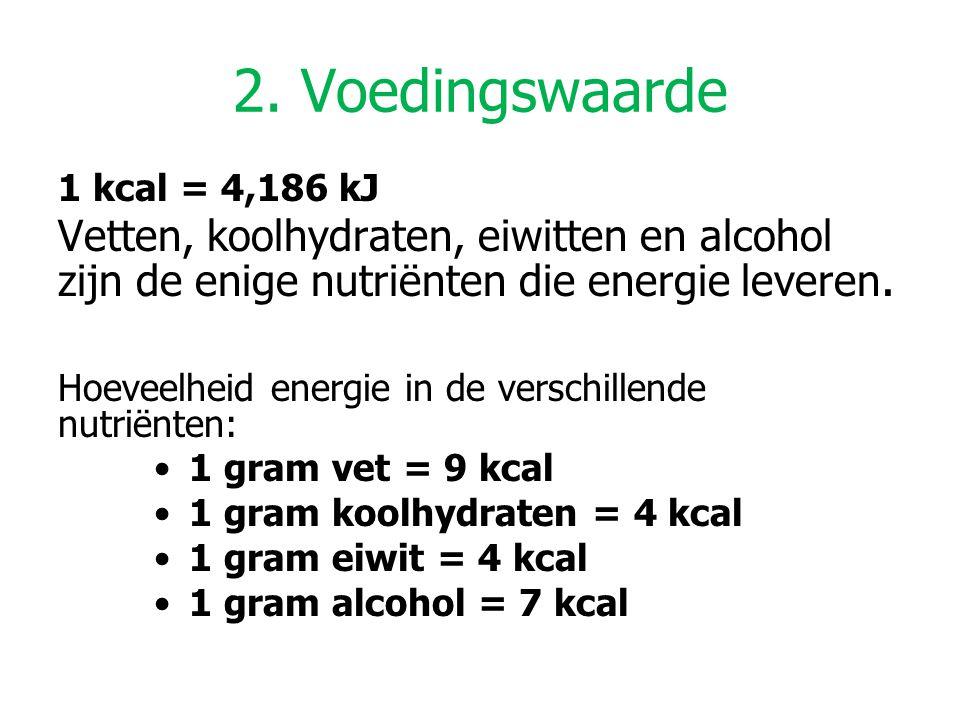 2. Voedingswaarde 1 kcal = 4,186 kJ. Vetten, koolhydraten, eiwitten en alcohol zijn de enige nutriënten die energie leveren.