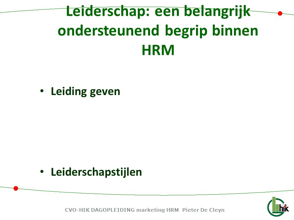 CVO-HIK DAGOPLEIDING marketing HRM Pieter De Cleyn