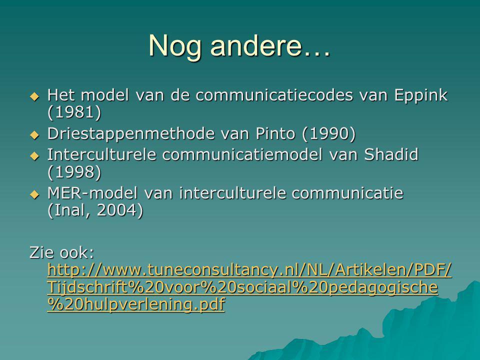 Nog andere… Het model van de communicatiecodes van Eppink (1981)