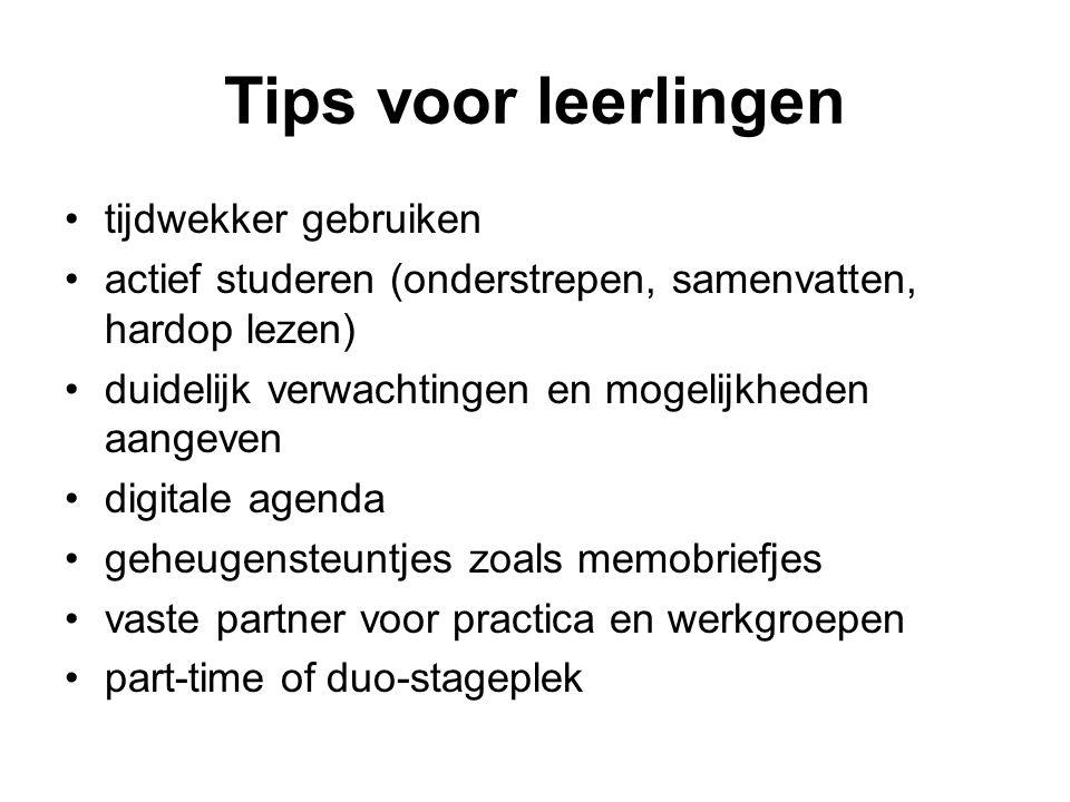 Tips voor leerlingen tijdwekker gebruiken