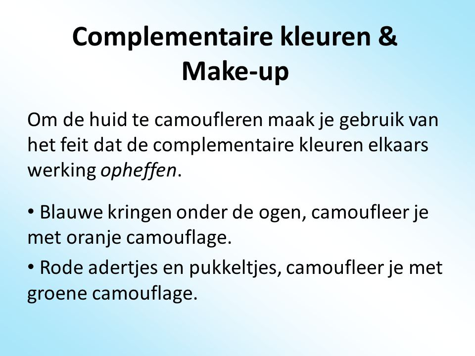 Complementaire kleuren & Make-up