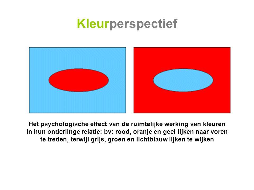 Kleurperspectief Het psychologische effect van de ruimtelijke werking van kleuren.