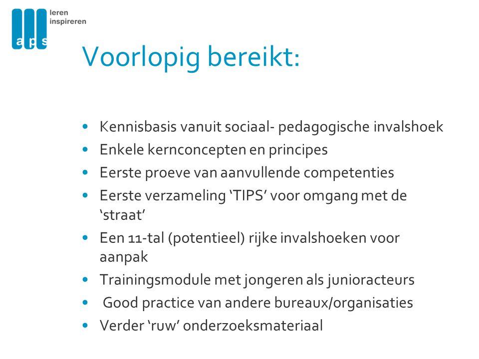 Voorlopig bereikt: Kennisbasis vanuit sociaal- pedagogische invalshoek
