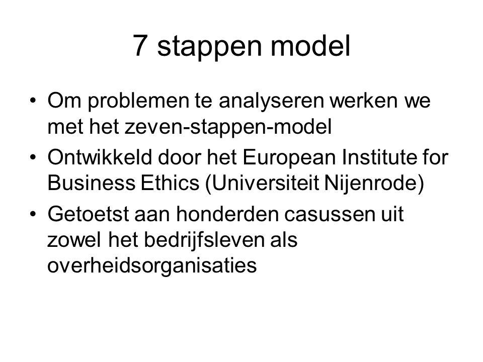 7 stappen model Om problemen te analyseren werken we met het zeven-stappen-model.