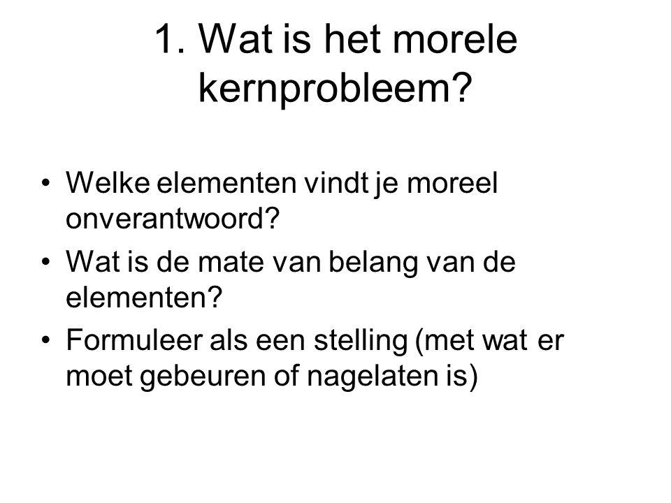 1. Wat is het morele kernprobleem