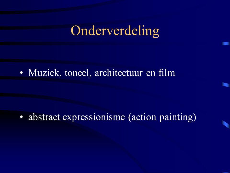 Onderverdeling Muziek, toneel, architectuur en film