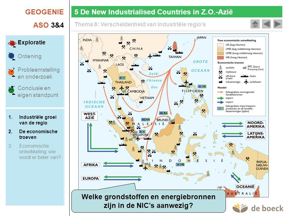 Welke grondstoffen en energiebronnen zijn in de NIC's aanwezig