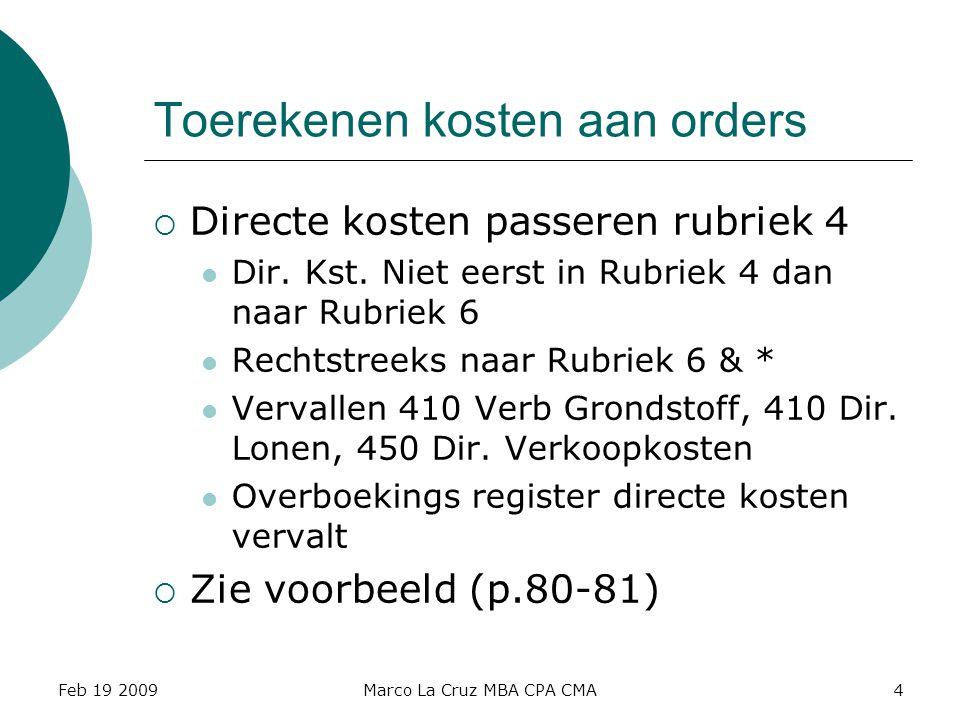 Toerekenen kosten aan orders