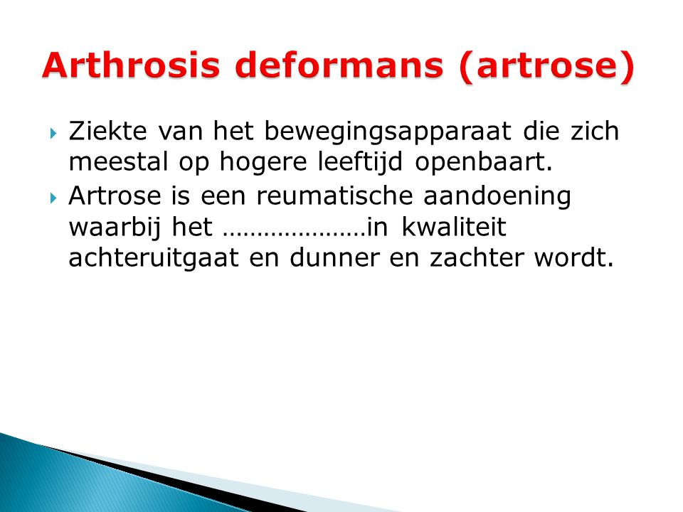 Arthrosis deformans (artrose)