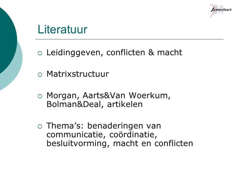 Literatuur Leidinggeven, conflicten & macht Matrixstructuur
