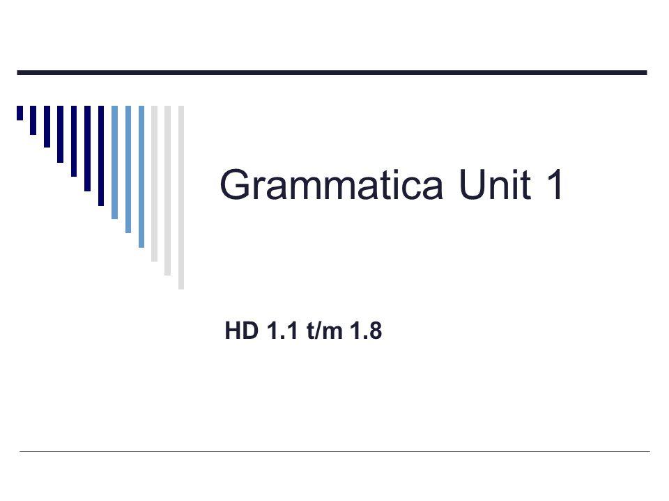 Grammatica Unit 1 HD 1.1 t/m 1.8