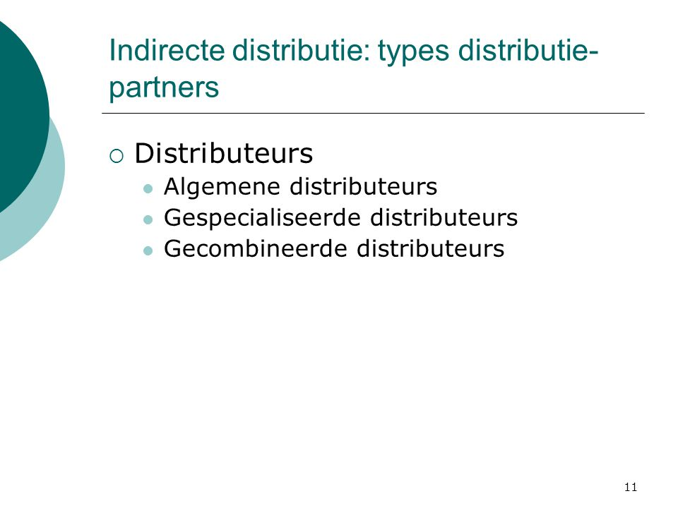 Indirecte distributie: types distributie-partners