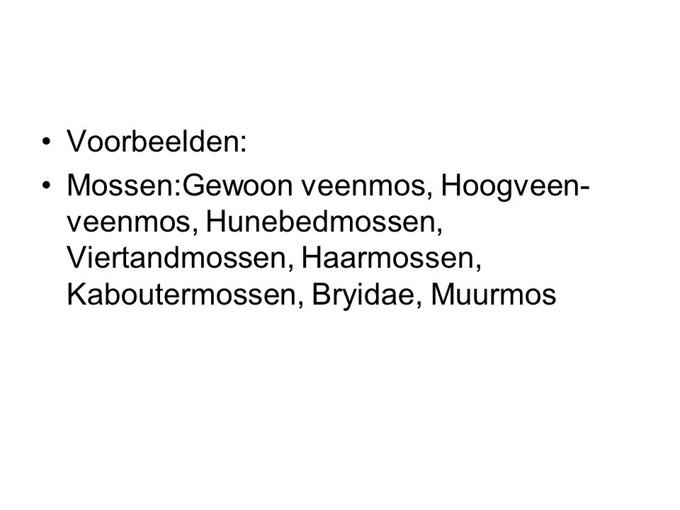 Voorbeelden: Mossen:Gewoon veenmos, Hoogveen-veenmos, Hunebedmossen, Viertandmossen, Haarmossen, Kaboutermossen, Bryidae, Muurmos.