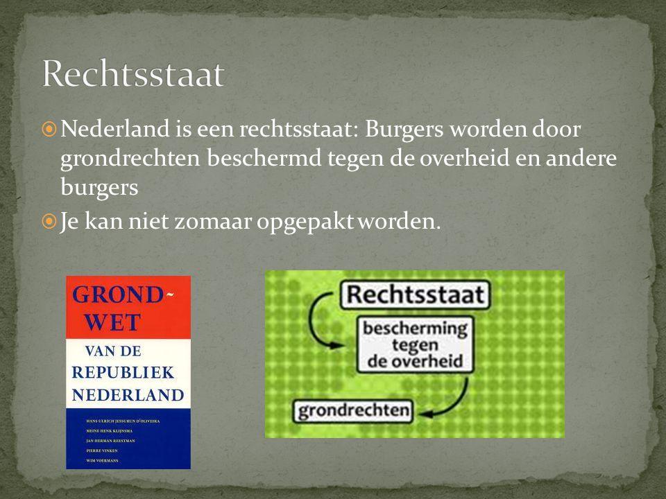 Rechtsstaat Nederland is een rechtsstaat: Burgers worden door grondrechten beschermd tegen de overheid en andere burgers.