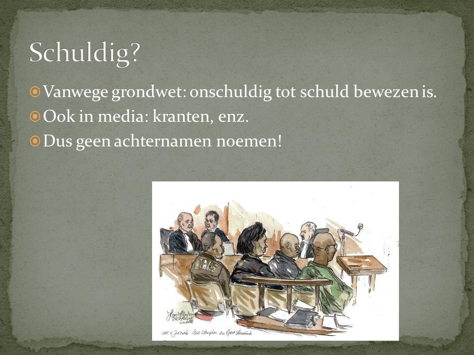 Schuldig Vanwege grondwet: onschuldig tot schuld bewezen is.