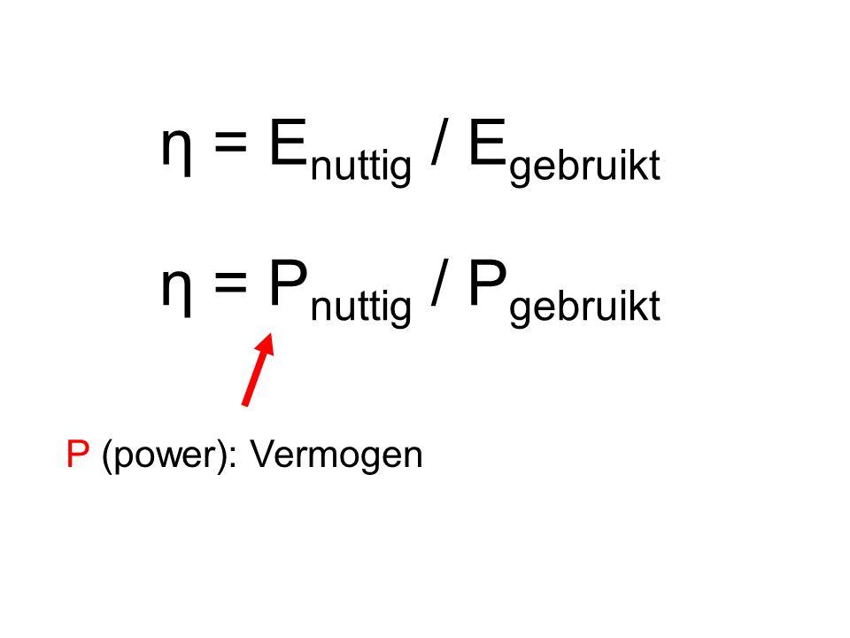 η = Enuttig / Egebruikt η = Pnuttig / Pgebruikt P (power): Vermogen