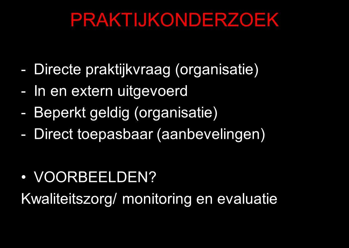 PRAKTIJKONDERZOEK Directe praktijkvraag (organisatie)