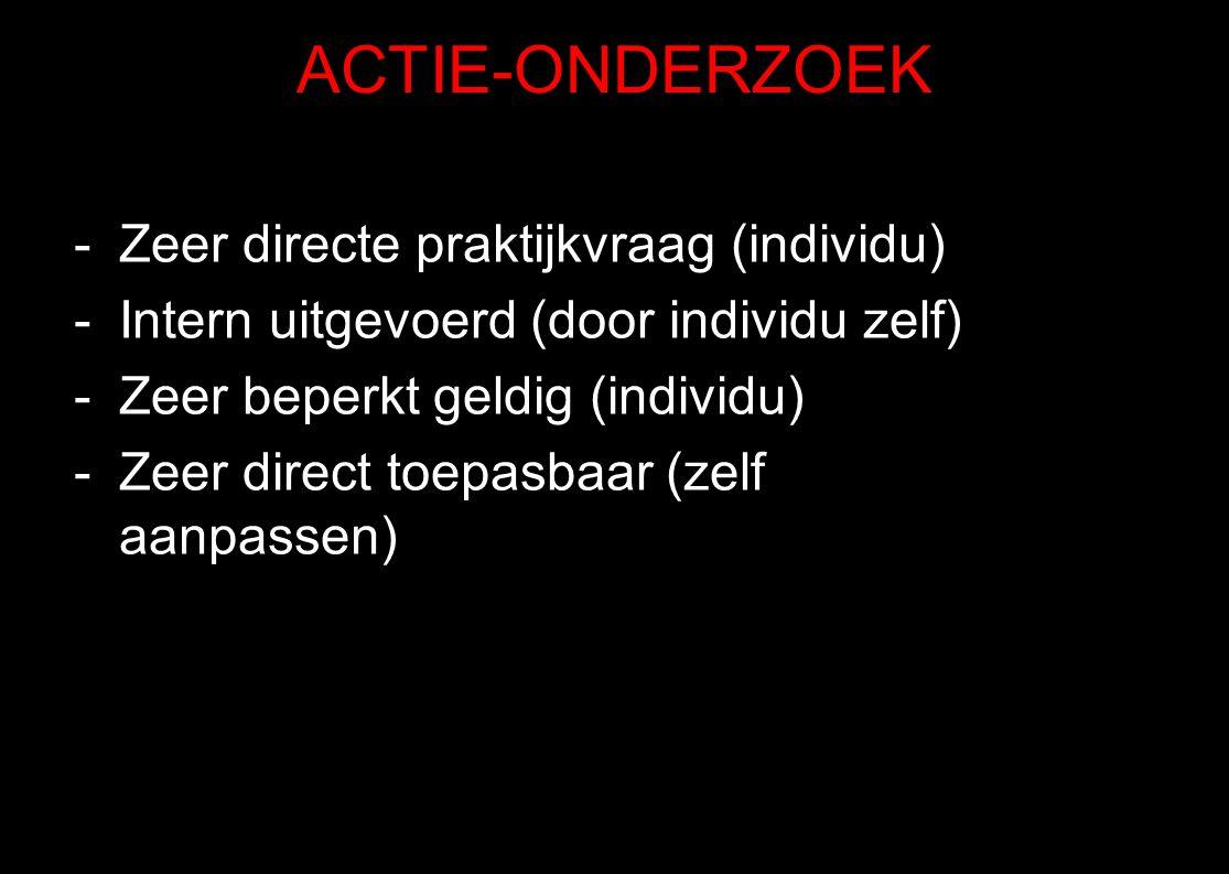 ACTIE-ONDERZOEK Zeer directe praktijkvraag (individu)