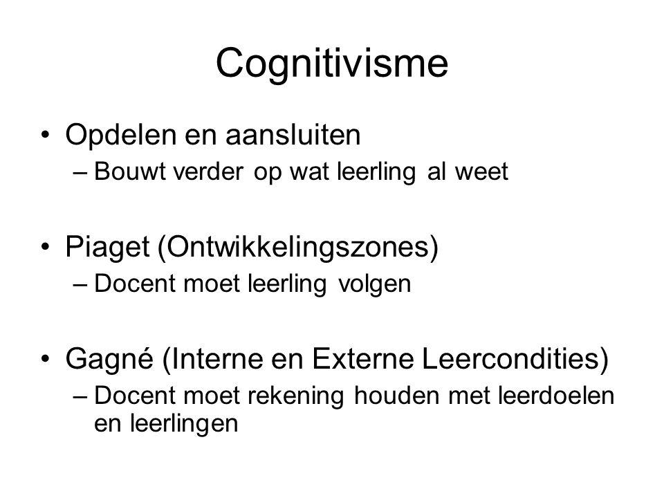 Cognitivisme Opdelen en aansluiten Piaget (Ontwikkelingszones)
