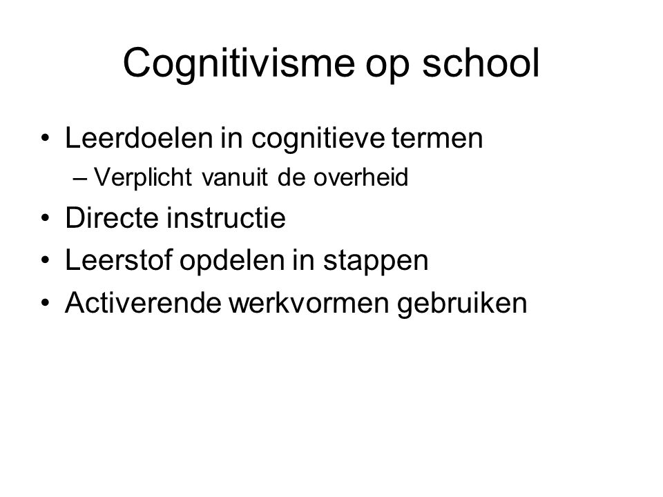 Cognitivisme op school