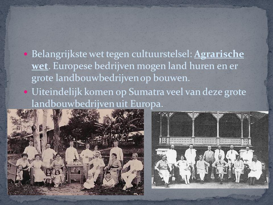 Belangrijkste wet tegen cultuurstelsel: Agrarische wet