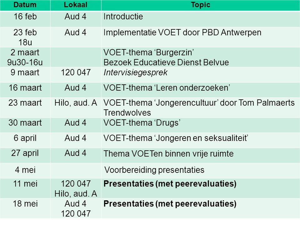 Implementatie VOET door PBD Antwerpen 2 maart 9u30-16u