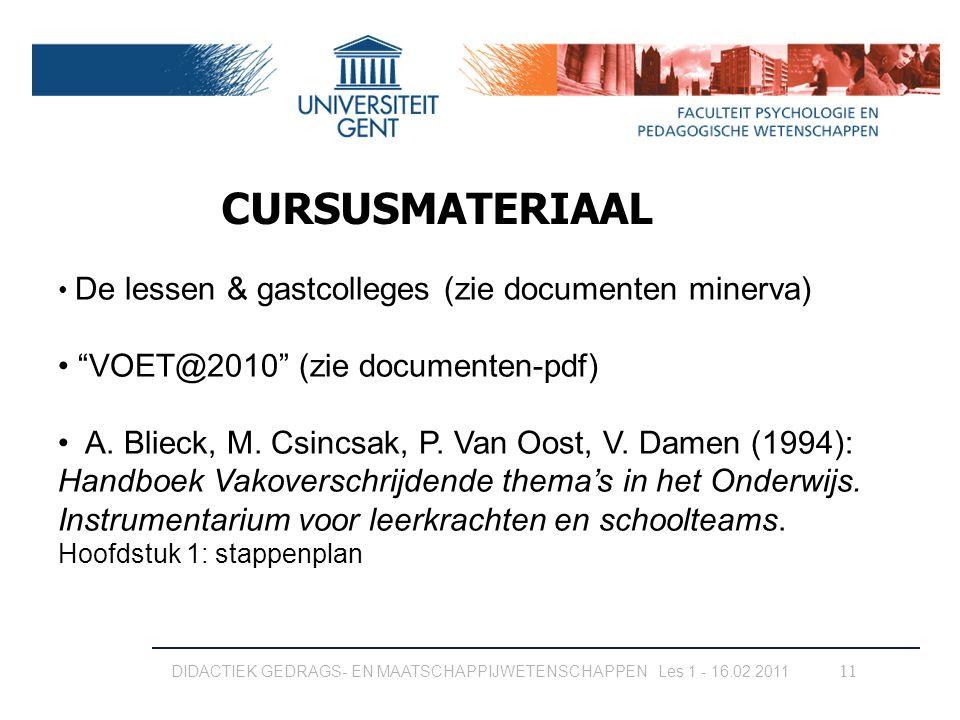 CURSUSMATERIAAL VOET@2010 (zie documenten-pdf)