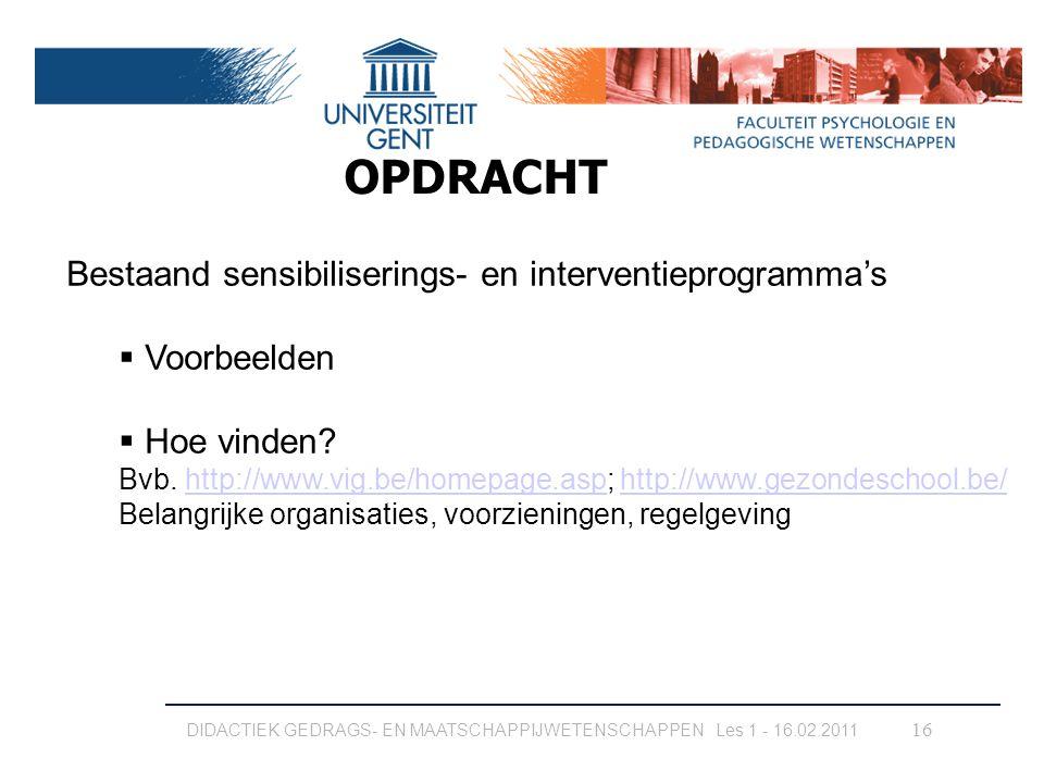OPDRACHT Bestaand sensibiliserings- en interventieprogramma's