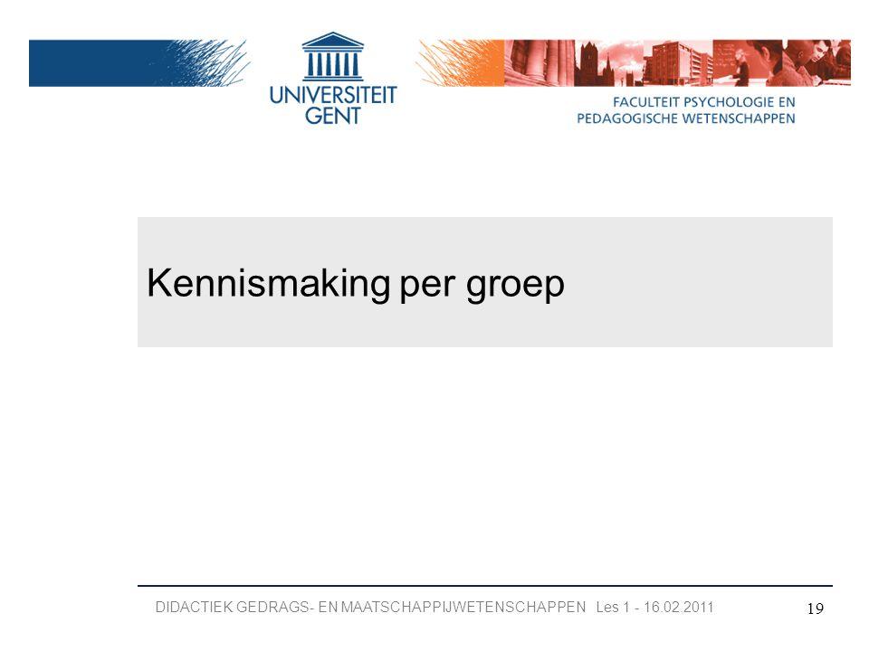 Kennismaking per groep