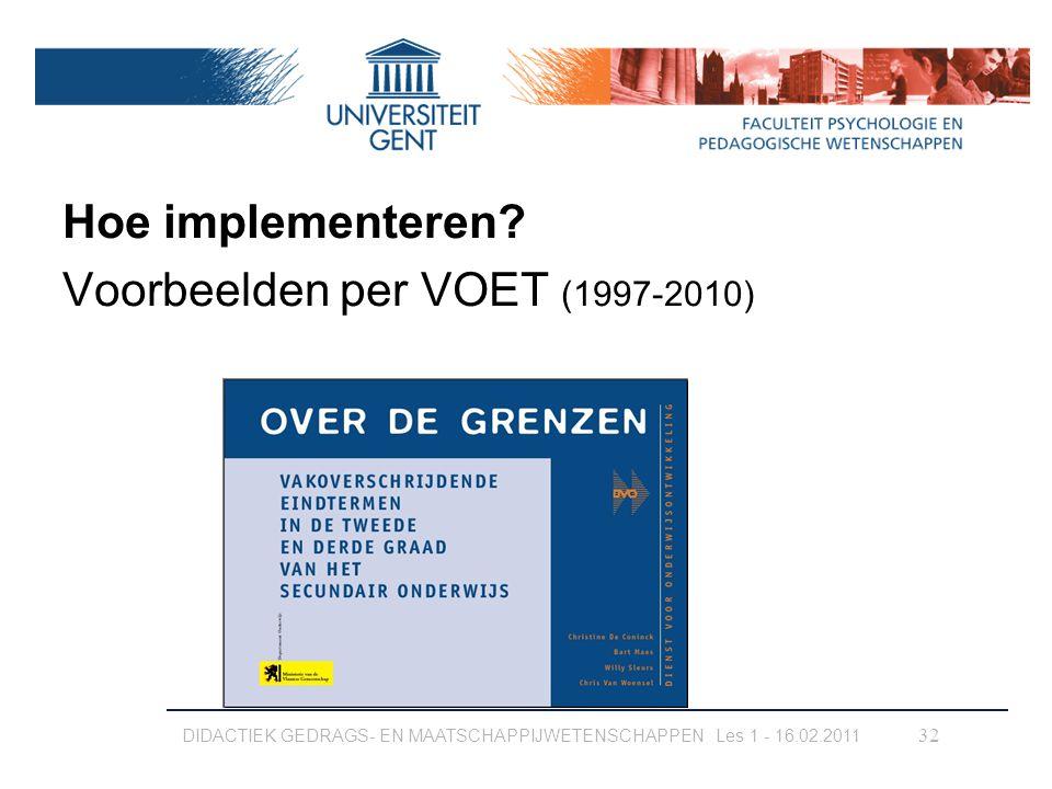 Hoe implementeren Voorbeelden per VOET (1997-2010)