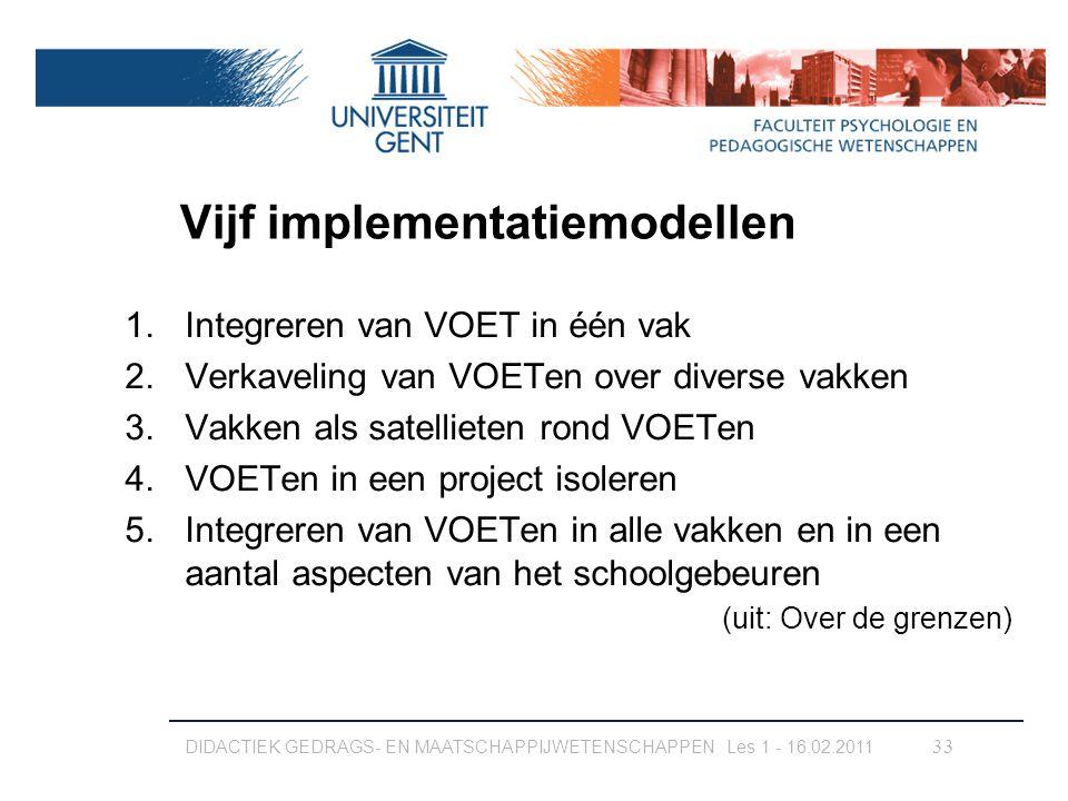Vijf implementatiemodellen