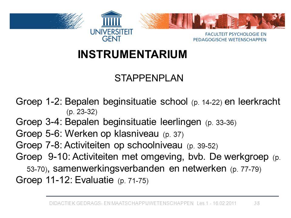 INSTRUMENTARIUM STAPPENPLAN