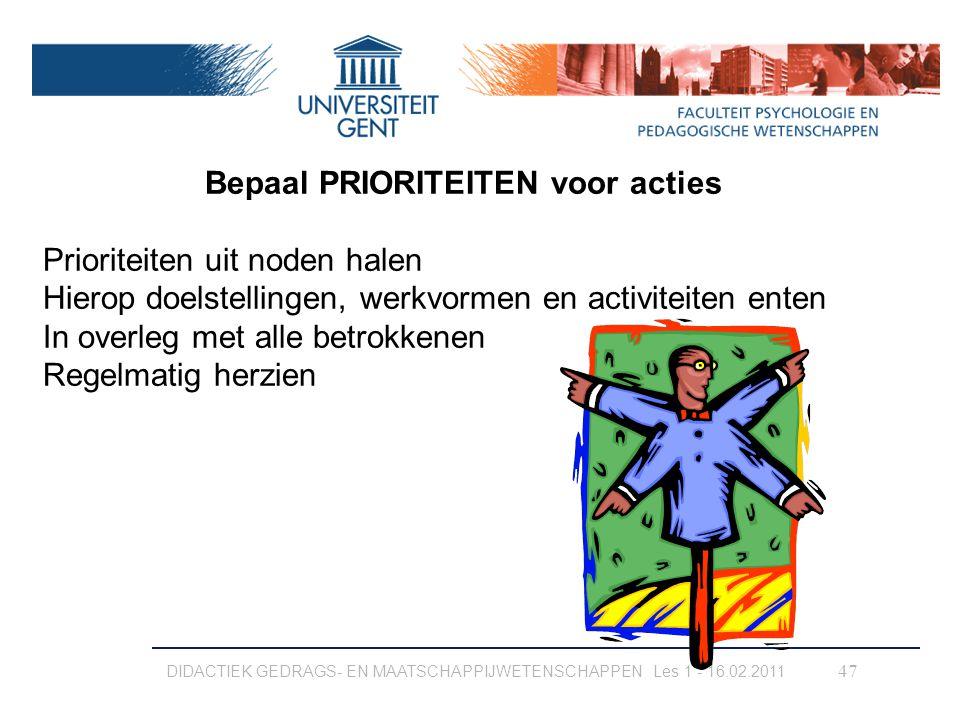 Bepaal PRIORITEITEN voor acties