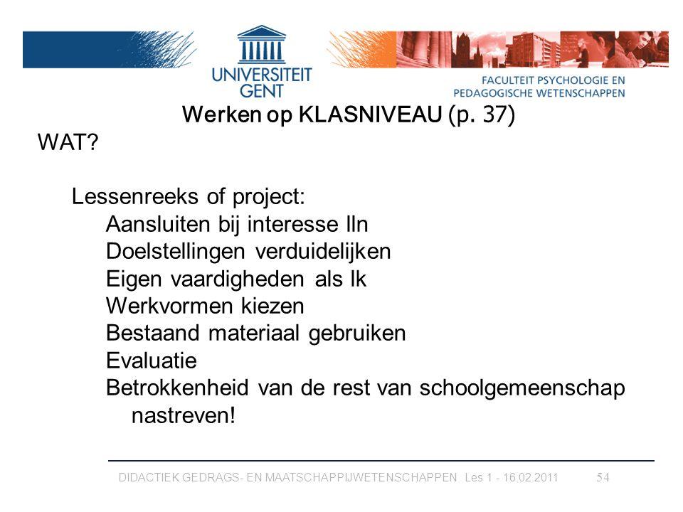 Werken op KLASNIVEAU (p. 37)