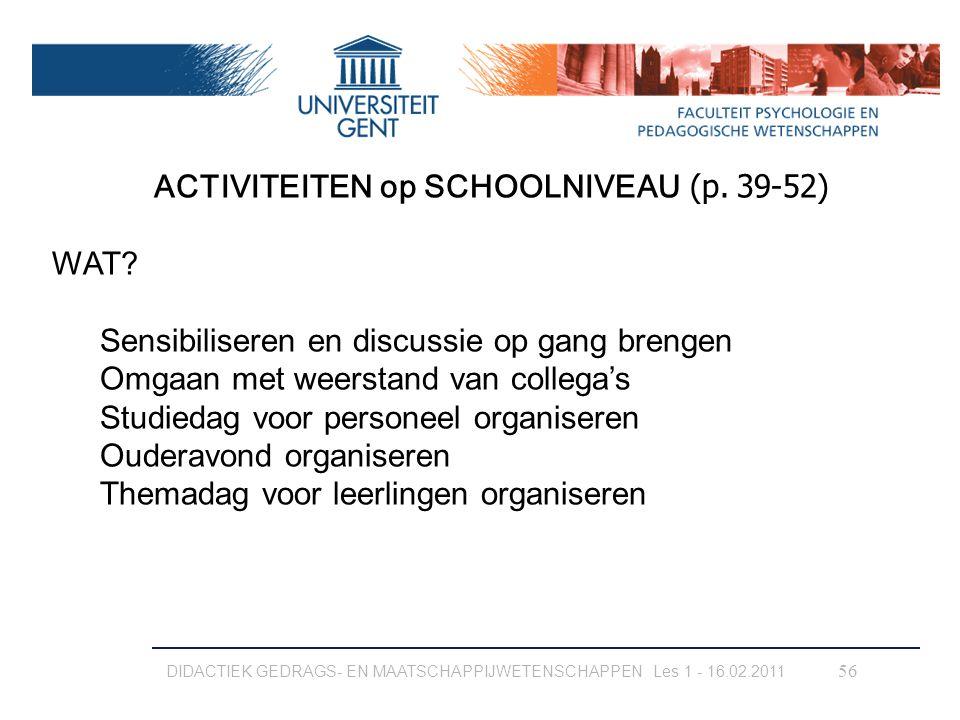 ACTIVITEITEN op SCHOOLNIVEAU (p. 39-52)