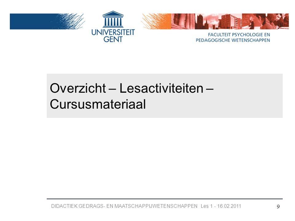 Overzicht – Lesactiviteiten – Cursusmateriaal