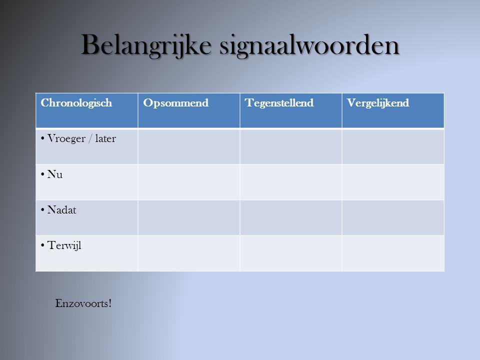 Belangrijke signaalwoorden