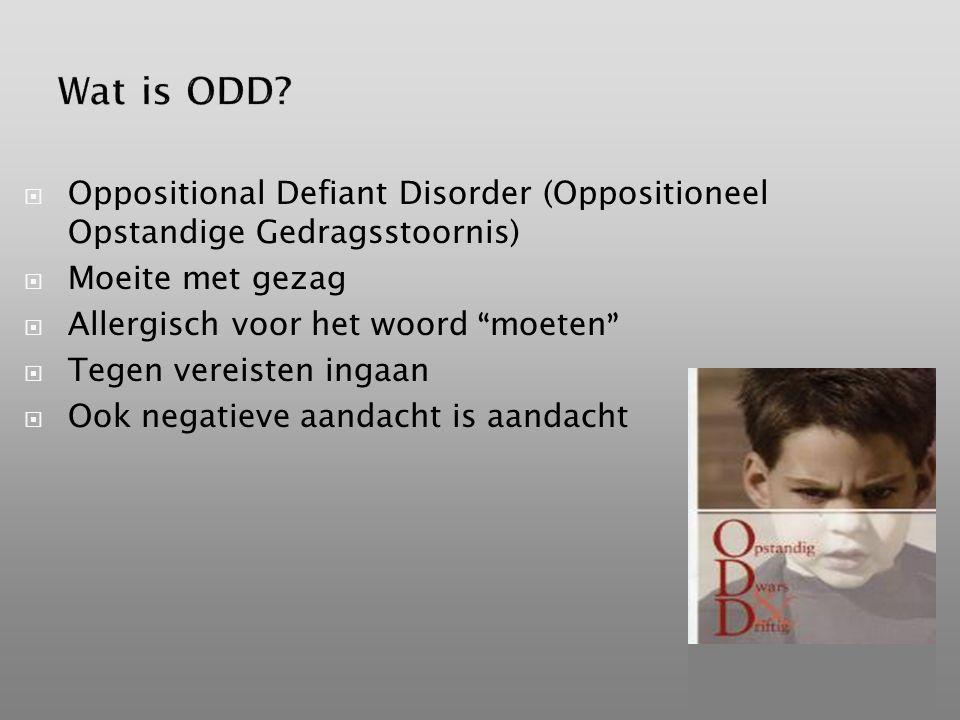 Wat is ODD Oppositional Defiant Disorder (Oppositioneel Opstandige Gedragsstoornis) Moeite met gezag.