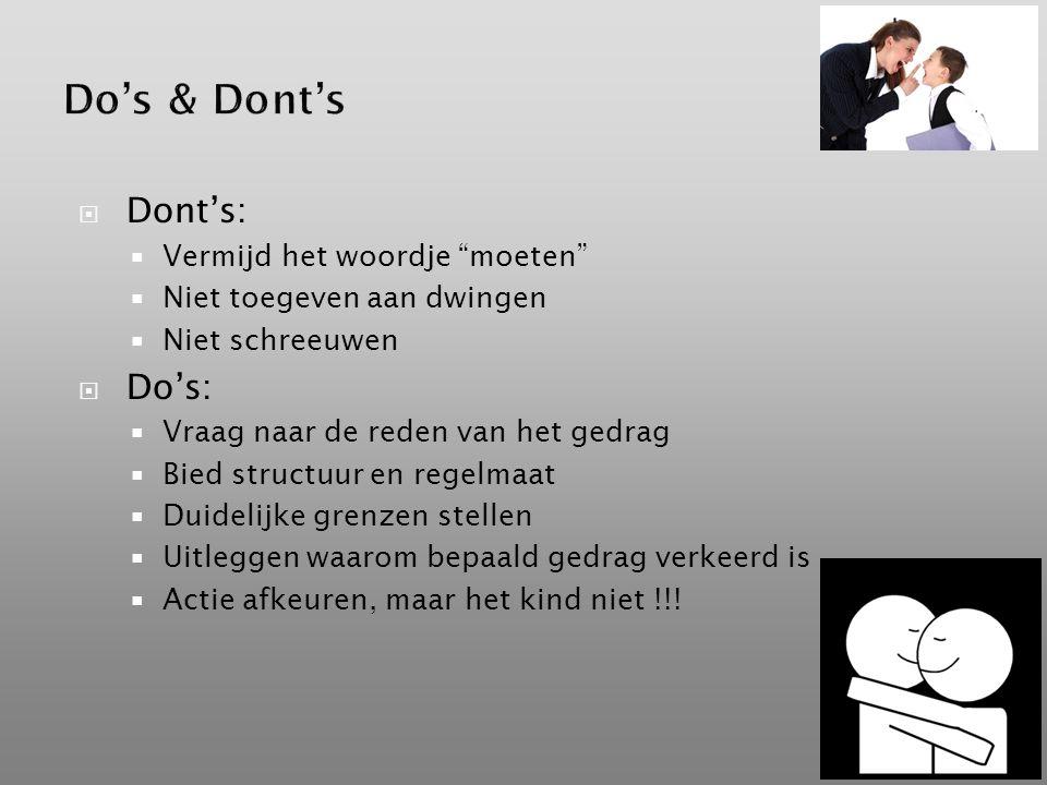 Do's & Dont's Dont's: Do's: Vermijd het woordje moeten