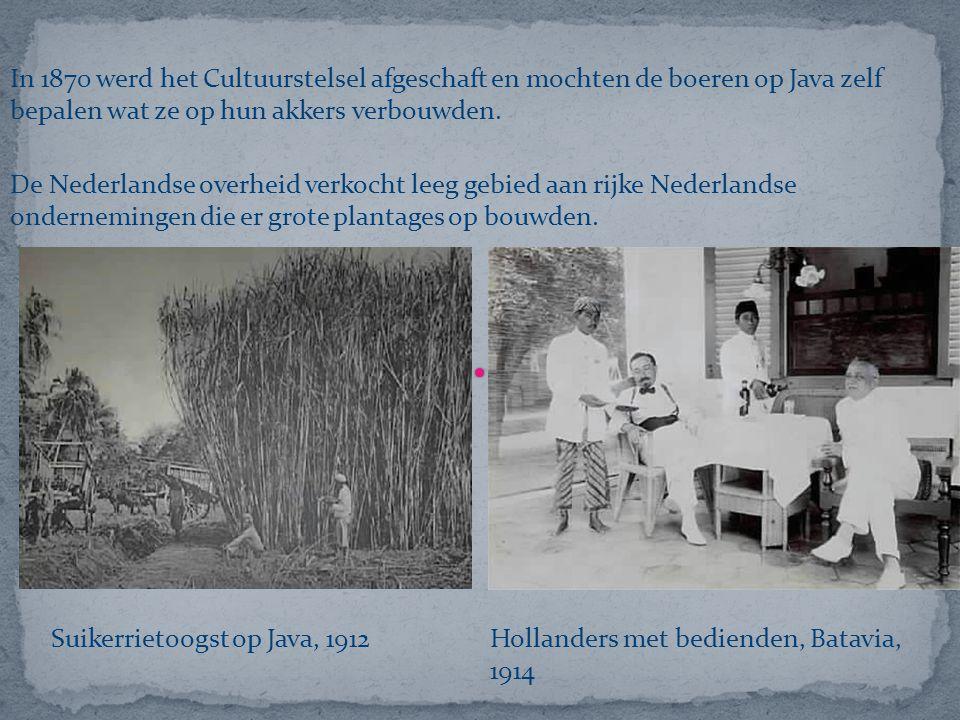 In 1870 werd het Cultuurstelsel afgeschaft en mochten de boeren op Java zelf bepalen wat ze op hun akkers verbouwden.