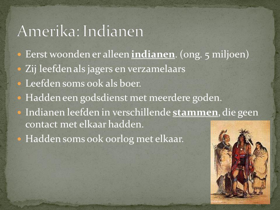 Amerika: Indianen Eerst woonden er alleen indianen. (ong. 5 miljoen)