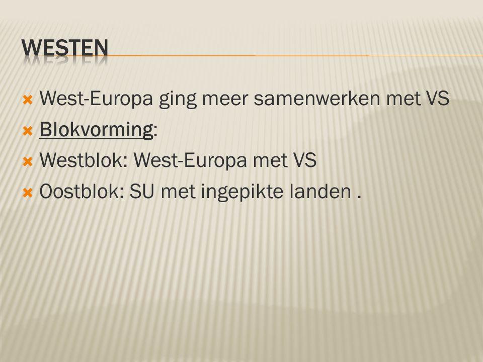 Westen West-Europa ging meer samenwerken met VS Blokvorming: