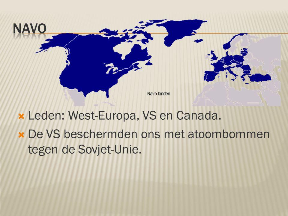 NAVO Leden: West-Europa, VS en Canada.